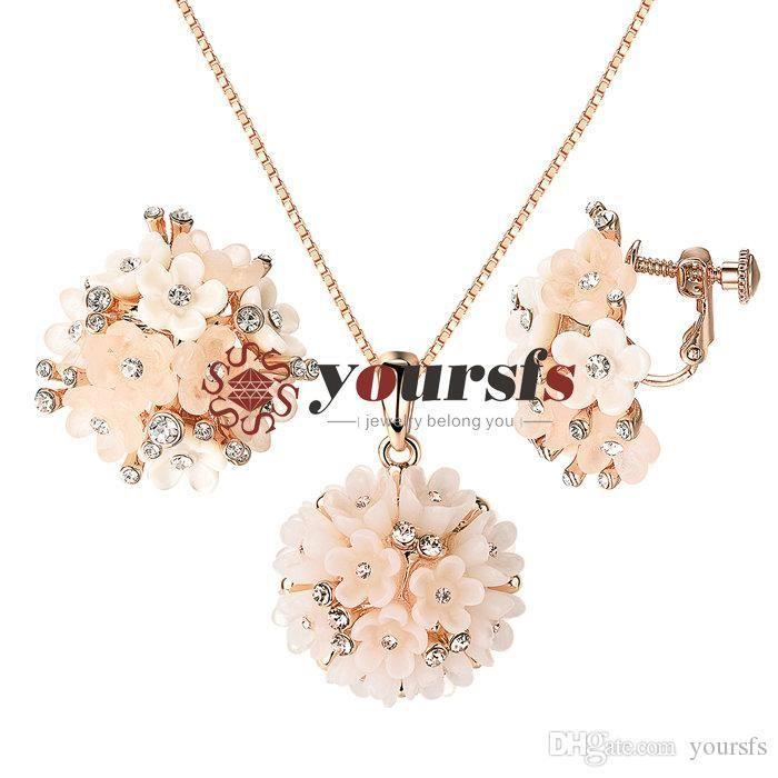Rhinestone Jewelry Set Teardrop Pendant Choker Necklace and Earrings Set for Women From Aramex