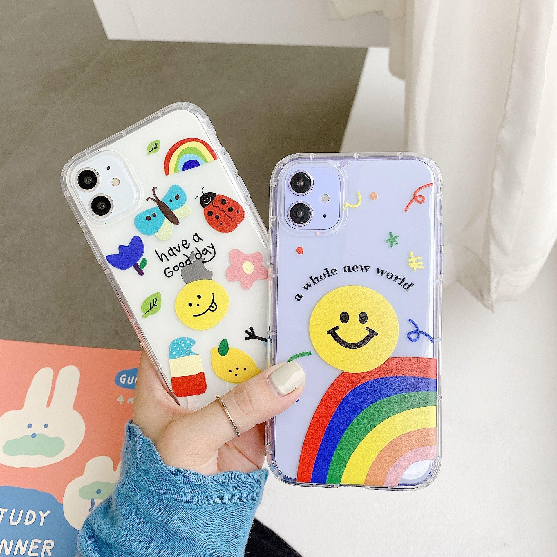 Caso lindo 3D Claro teléfono de la manera para el iPhone SE Caso X XS Max Xr 11 pro 8 7 6s Plus Bling Fundas suave cubierta Coque