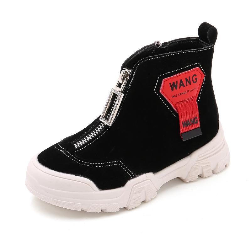 Winter British Style Medium Big Girls Short Boots Casual Waterproof Children's Kids Rhinestone Ankle Spring Autumn Leather Shoes