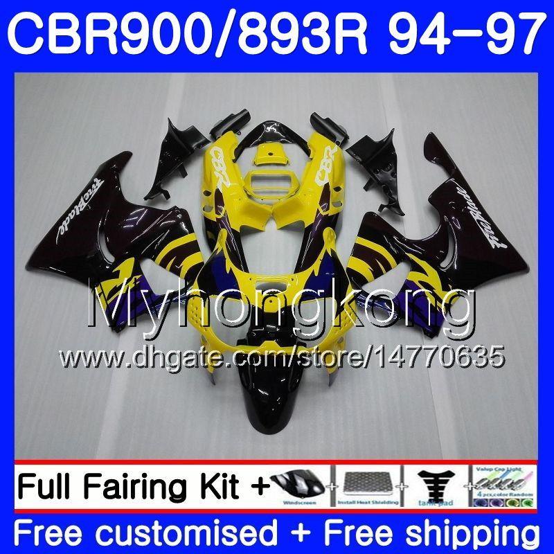Комплект для HONDA CBR900RR CBR 893RR 1994 1995 1996 1997 кузов 260HM.21 CBR 893 CBR900 RR CBR893 RR CBR893RR 94 95 96 97 горячий желтый черный обтекатель