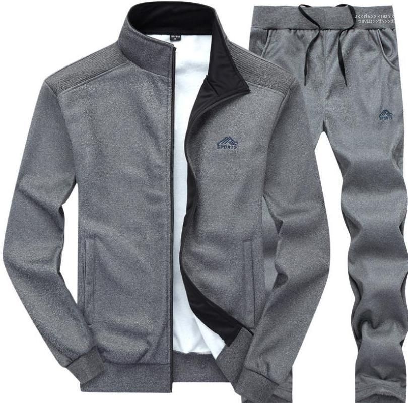 Calças 2pcs Roupa Define ternos do desenhador Tracksuits de outono dos homens Blusões Calças