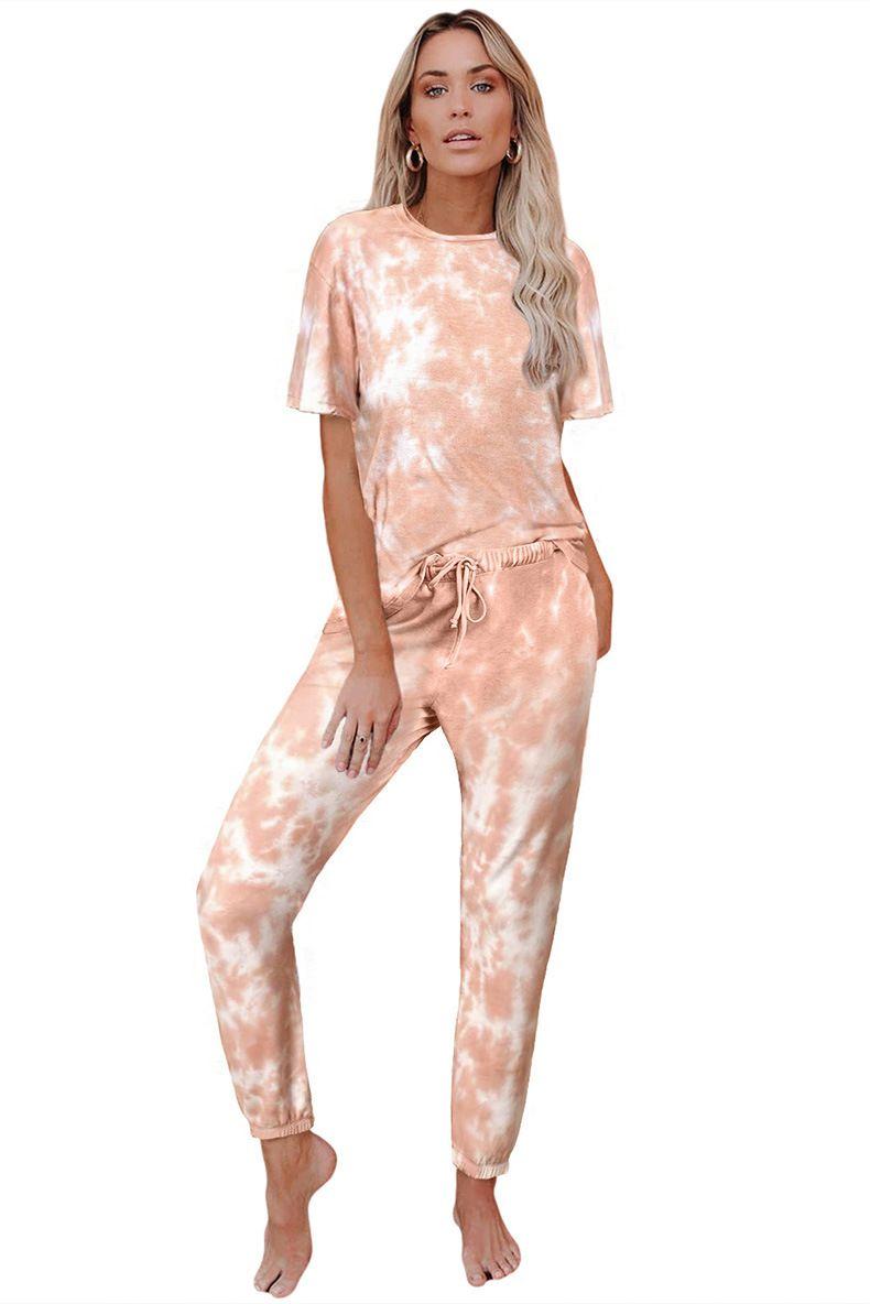 DHL para pijamas Tiedye para damas Conjuntos Cortos de Pijama Con Cuello Redondo Y Pijama teñido anudado de manga larga superior de aluminio agradable bwkf