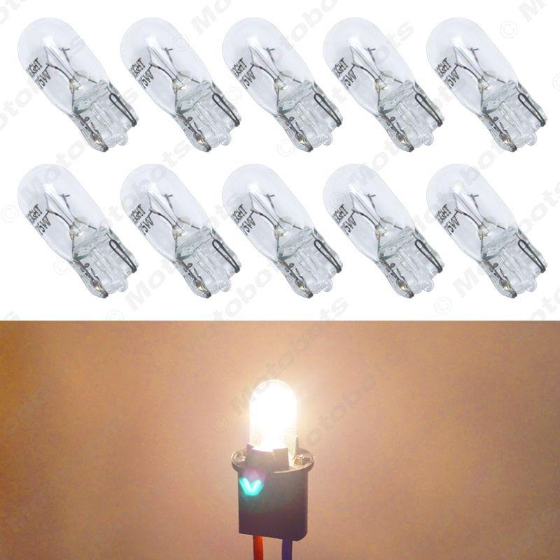 10pcs/box Warm White Car T10 168 192 Wedge 12V 5W Halogen Bulb External Halogen Lamp Replacement Dashboard Bulb Light #2109