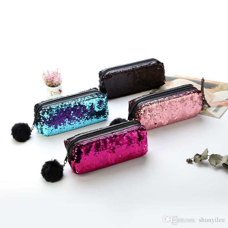 패션 화장품 가방 더블 컬러 장식 조각 핸드백 지퍼 화장품 가방 반짝이 메이크업 파우치 여자 여자 연필 가방 F2430
