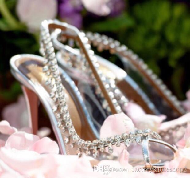 Elegante peep toe tacco alto Sandali con le scarpe di cristallo del nastro da sposa per le donne PVC trasparente sera pompe Estate Calzature 8cm tacco