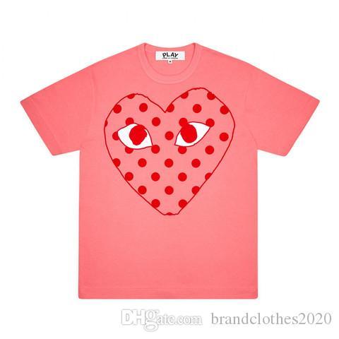 최고 품질 여름 패션 디자이너 C-D-G의 플레이 T 셔츠는 # 010 럭셔리 꼼 데 가르 송 남성 여성 캐주얼면 인쇄는 심장 티 마스크 빨간색