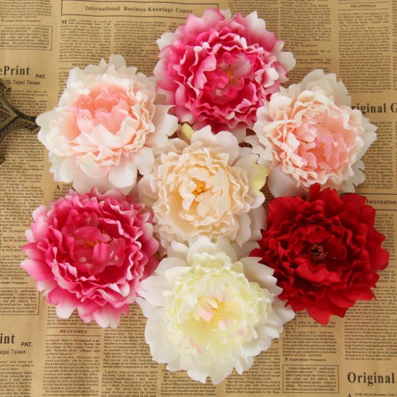 5 ألوان 12CM الزهور الحرير الاصطناعي زهرة الفاوانيا رؤساء محاكاة وهمية زهرة حزب رئيس مناسبات الزفاف لوازم 300PCS CCA11487-1