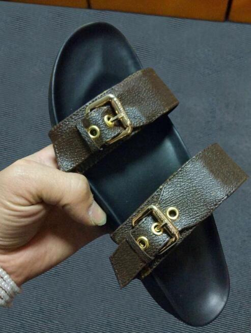 Mit Box Frauen Print Lackleder Marke Bom Dia Mule On-Trend Slide Sandale Lady Canvas Brief Anatomische Leder Sohle Designer Slipper