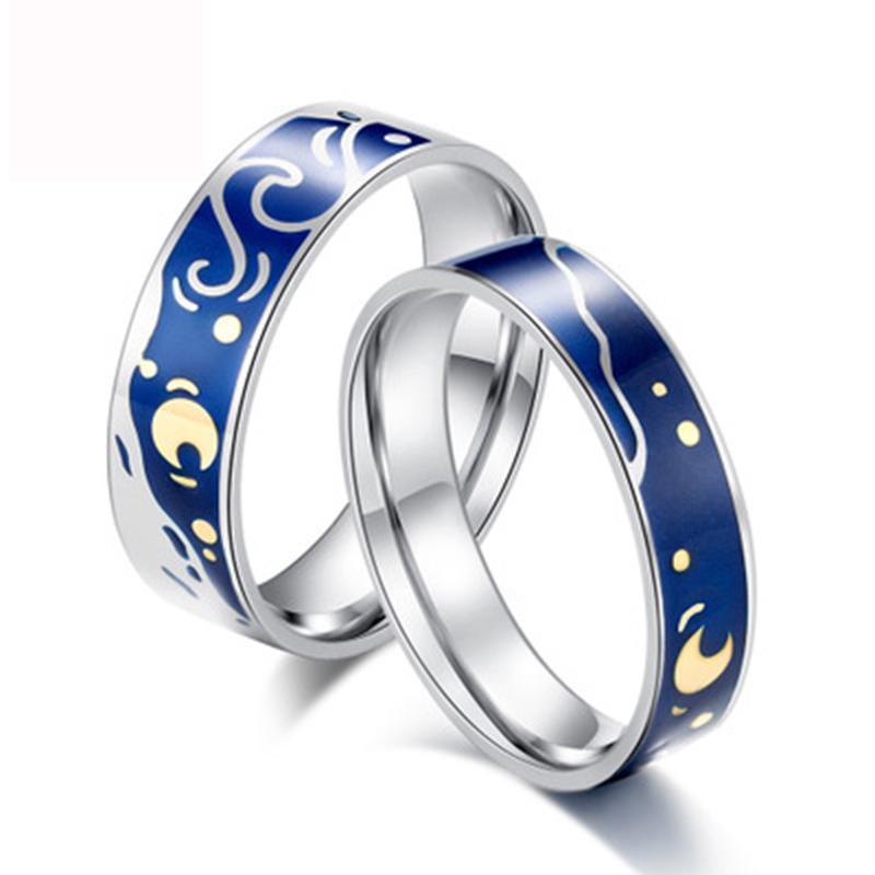 Moda Kaplama 925 Ayar Gümüş Yüzük Yıldızlı Gökyüzü Ay Düğün Nişan Yüzüğü Kadın Erkek Lover Için Takı Hediye