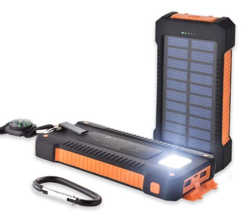 20000mah solar power bank Charger with LED flashlight Compass Camping lamp Double head Battery panel waterproof outdoor charging Cell phone