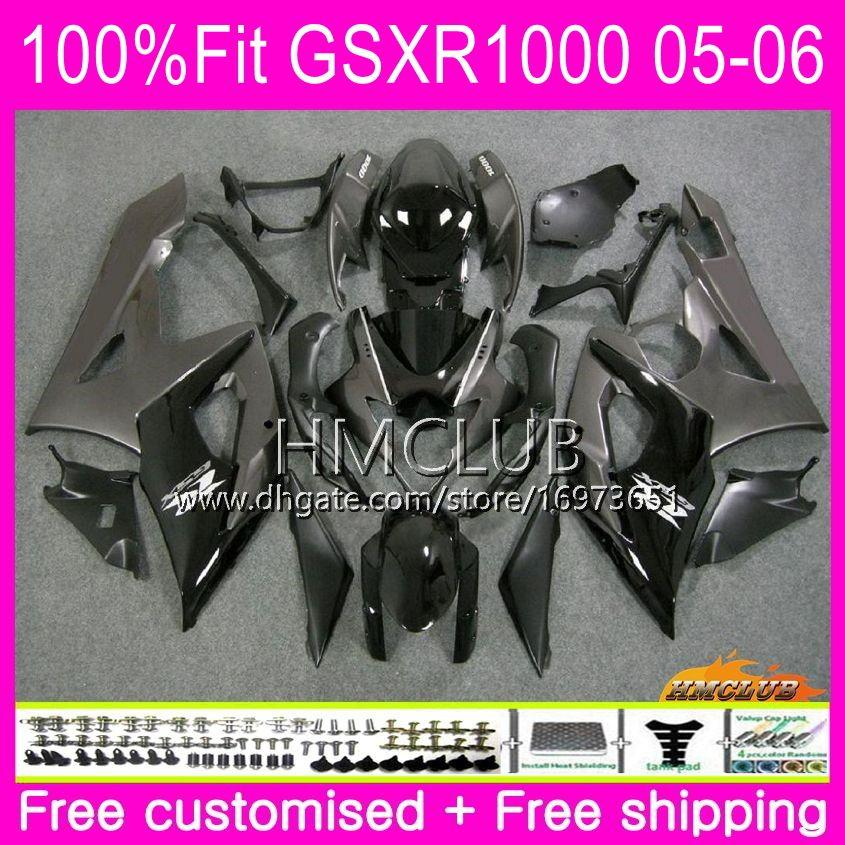 Injection Bodys For SUZUKI GSX-R1000 GSXR 1000 05 06 Bodywork Top Grey Black 11HM.14 GSXR1000 05 06 K5 GSX R1000 GSXR-1000 2005 2006 Fairing