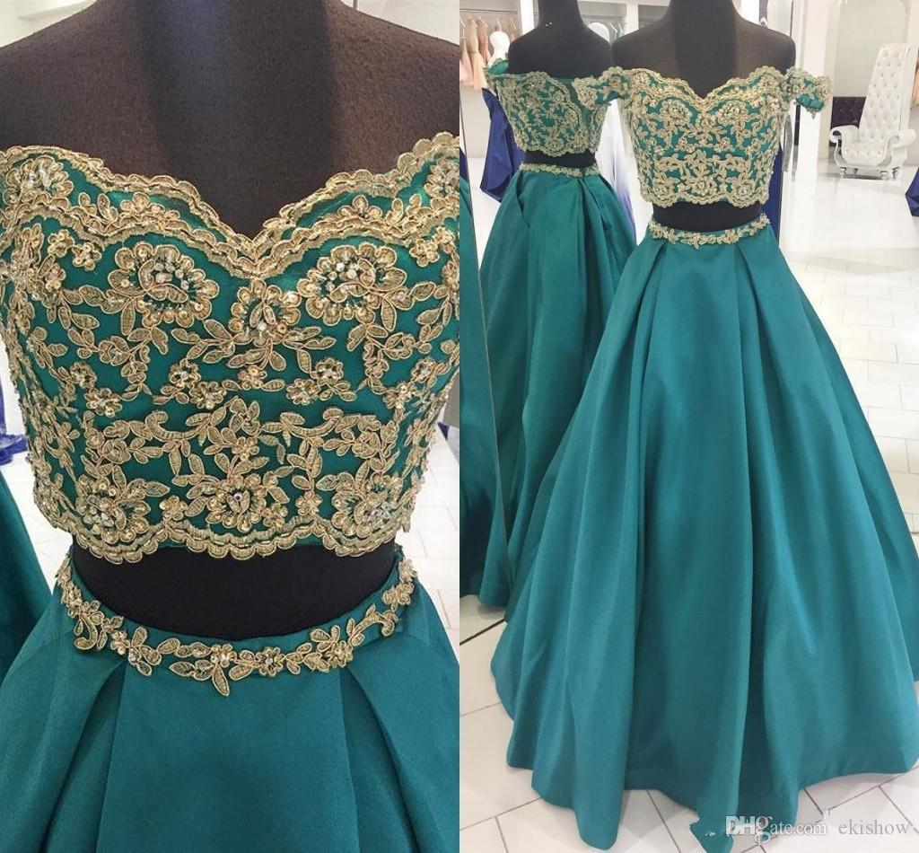 Two Pieces Hunter 2020 Cheap Prom Dresses Gold Lace Applique Formal Evening Gowns A Line Off The Shoulder Satin Graduation Party Dress