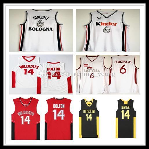 Wildkatzen High School 14 Troy Bolton Jersey Movie Basketball Deutschland 14 Dirk Nowitzki Kinder 6 Manu Ginobili Latvija 6 Kristaps Porzingis