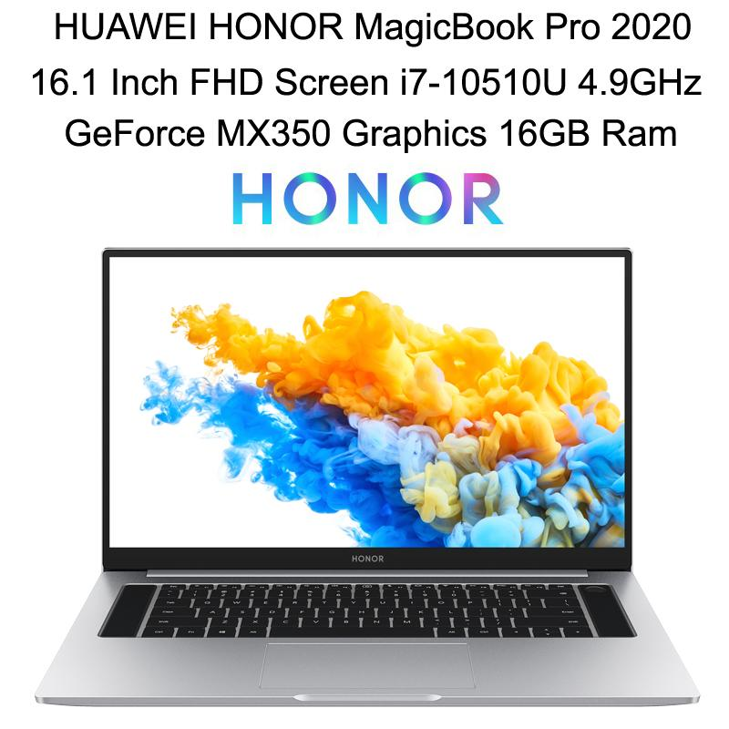 HUAWEI HONOR MagicBook Pro 2020 Laptop PC 16.1 Inch FHD Matte Screen GeForce MX350 Graphics i7-10510U 16GB Ram 512GB SSD Backlit