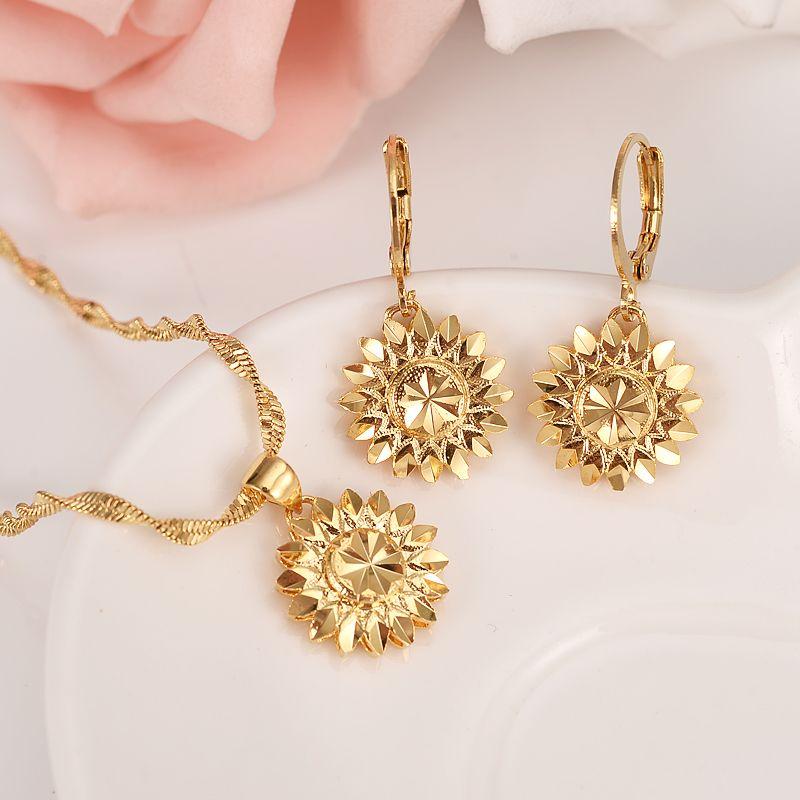 Dubai India Etíope Conjunto Joyas Colgante Collar Pendiente joyas Habesha Girl 14 k Oro sólido GF flor Europa Conjuntos de novia