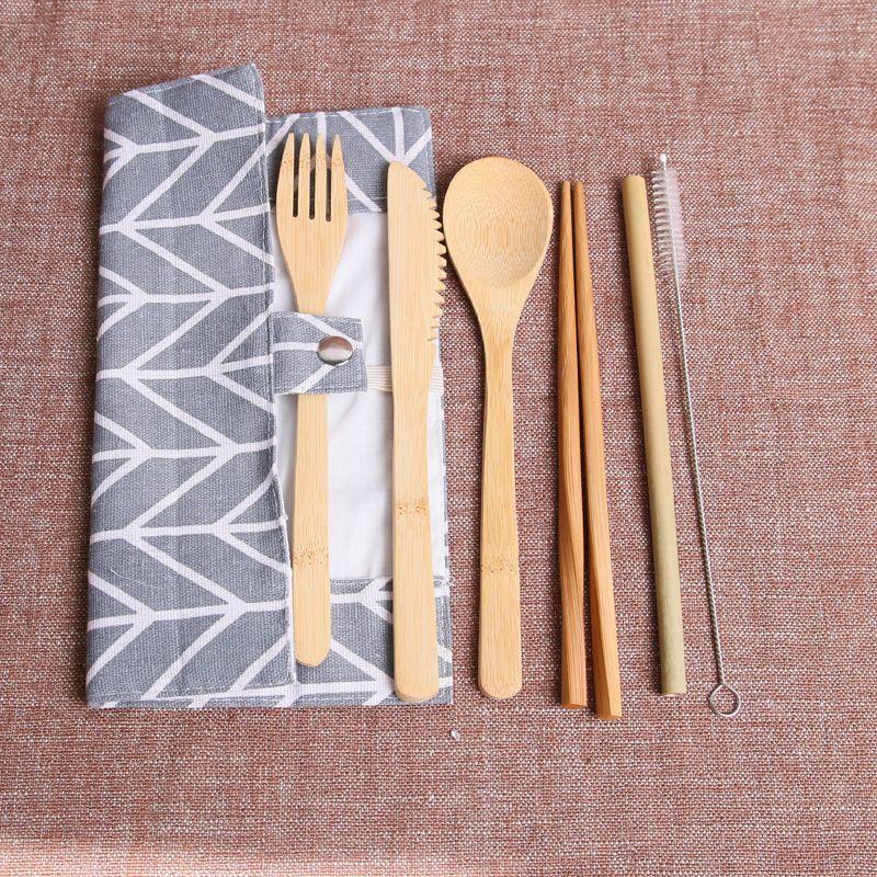 Набор столовой посуды из дерева Бамбуковый вилочный нож Суп Чайная ложка Набор столовых приборов с тканевой сумкой Кухонная посуда Инструменты Посуда