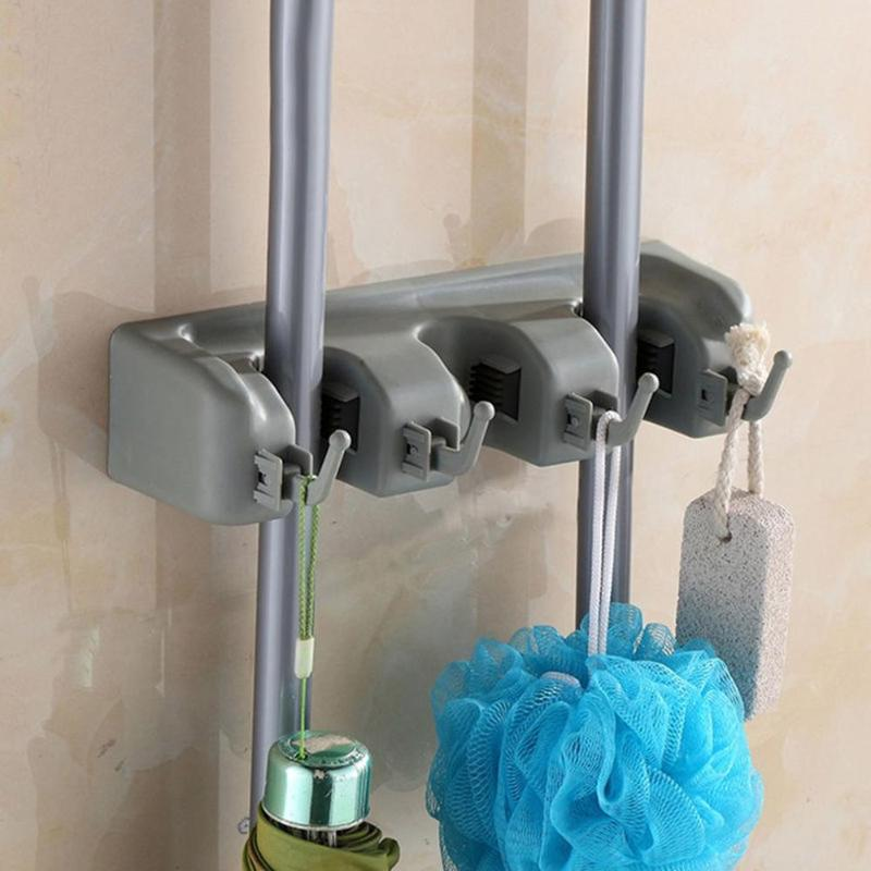 Mop Rack Household Items Mop Rack Multi-Function With Hook Magic Household Cleaning Supplies