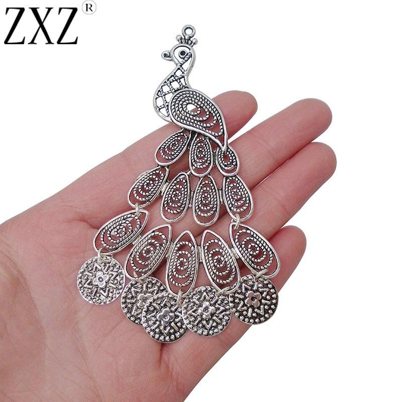 ZXZ 2pcs plata antigua tono Grandes Filigrana del pavo real colgantes de los encantos de joyería que hace las conclusiones 105x75mm