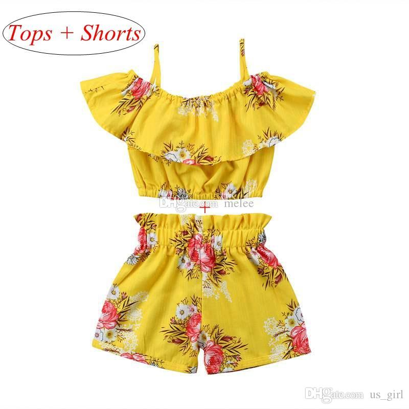 INS New Baby Girls Outfits Flower Shorts Children Clothing Sets Fashion Summer Kids Clothes Printed Ruffle Tops + Shorts 2pcs Suits 2-7Y
