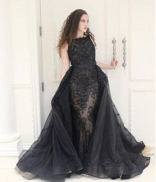 detachable skirt black evening dresses long lace applique elegant modest cheap Prom evening gown vestido de festa de longo 2020 Party Gowns