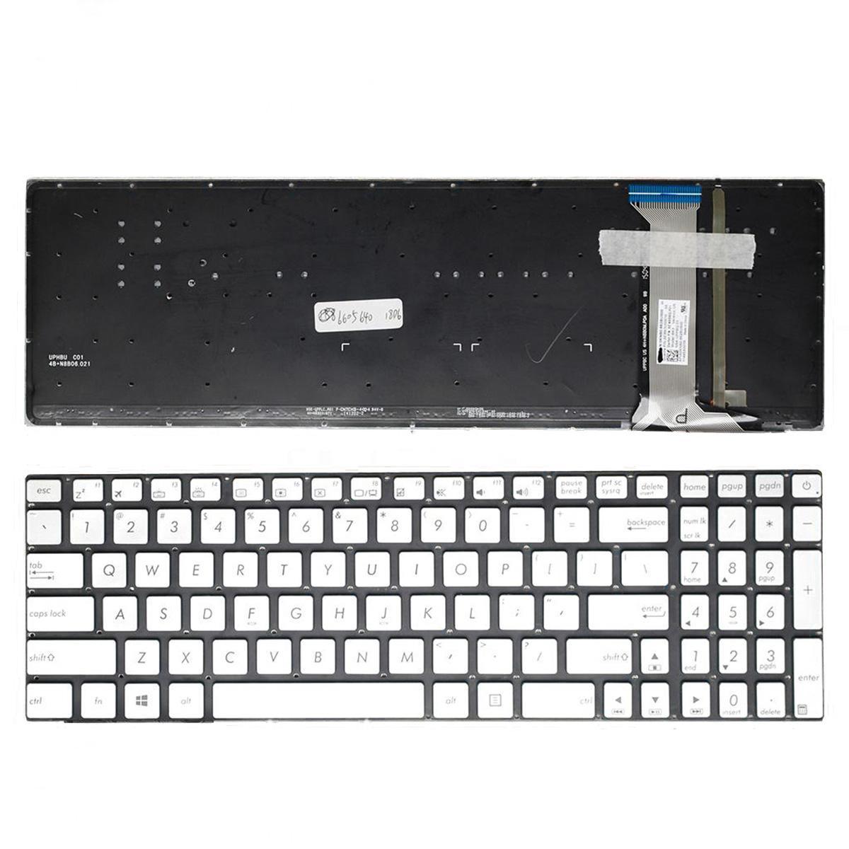 NOUVEAU anglais Clavier portable asus N551 N551J N551JB N551JK N551JM N551JQ ARGENT (rétro-éclairé, de papier d'aluminium sans cadre réparation clavier US