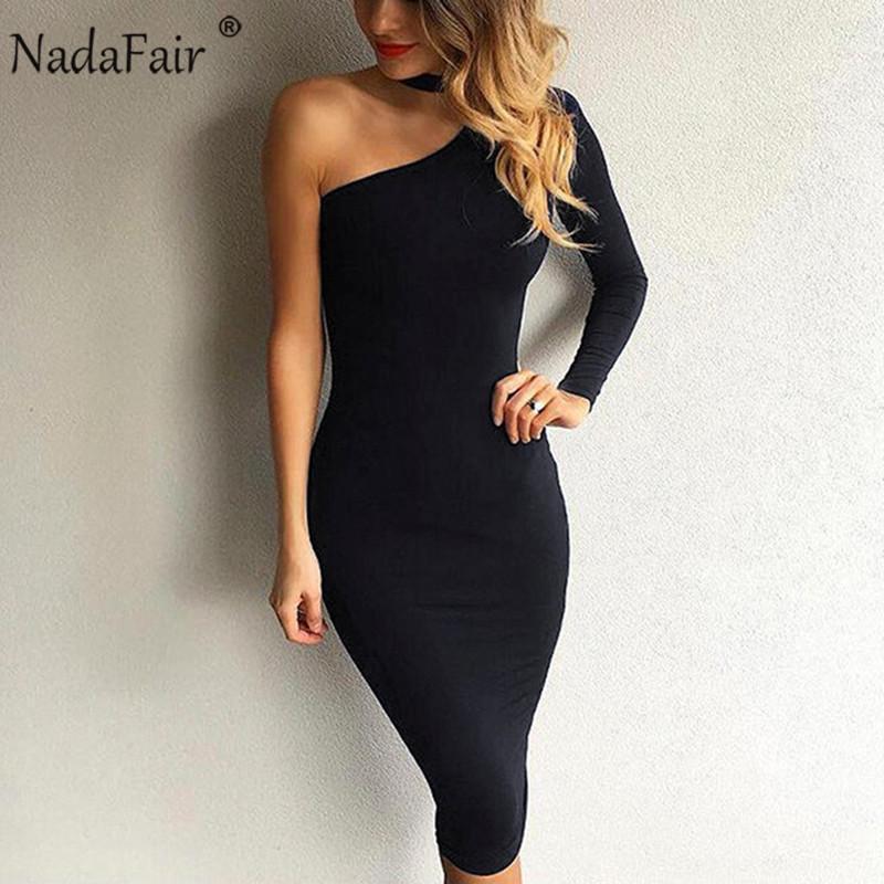 Nadafair una spalla sexy delle donne Club Vestito aderente a maniche lunghe Matita Nero Bianco Rosso Halter elegante partito Abiti Donna MX200508