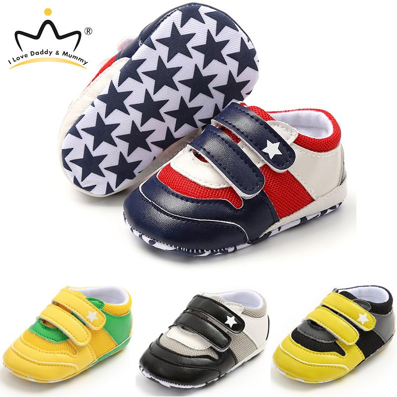 2020 New Cotton Baby Boy Shoes Breathable Air Mesh Star Print Infant Toddler Boy Girl Shoes First Walkers Non-slip Sole Sneakers