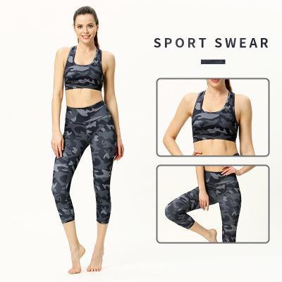 Womenswear Designer Suit Yoga due pezzi Fitness reggiseno di esercitazione del vestito Nuova Stampa di esercitazione del vestito sexy stretto Leggings maniche parte superiore