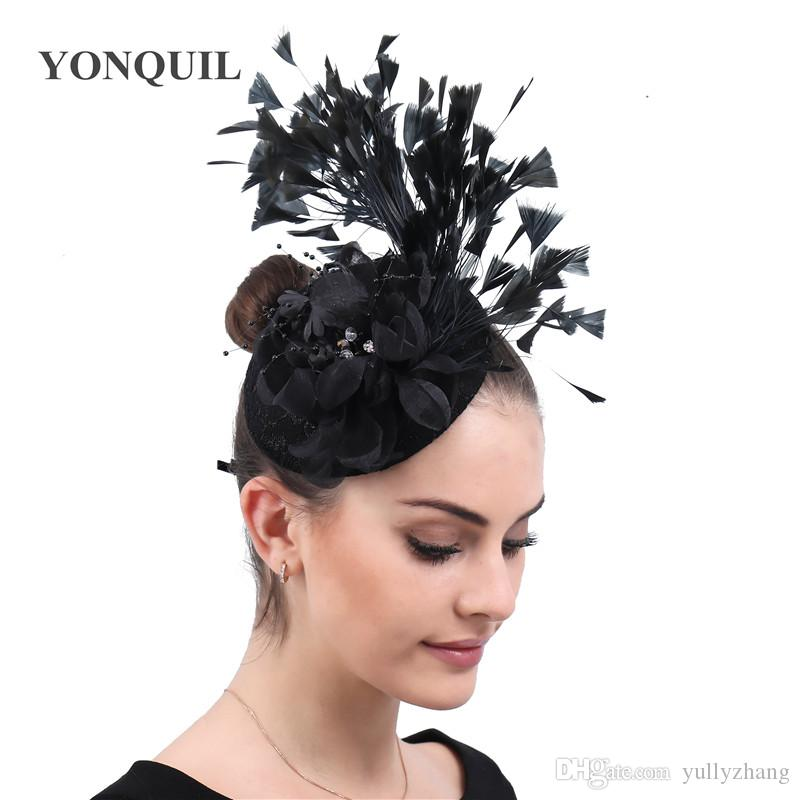 Black classic flower Fascinator women ladies elegant hat feathers accessory with hair clips banquet derby chapeau party headwear FREE SHIP