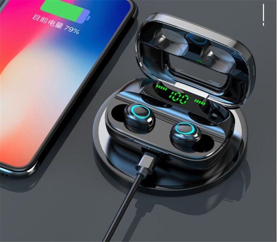 Dt2 Tws dt2 Mini Twins sem fio Bluetooth 5.0 Auricular Estéreo Esporte Auscultadores In-Ear Earbuds Com carga tomada para Smartphone #O
