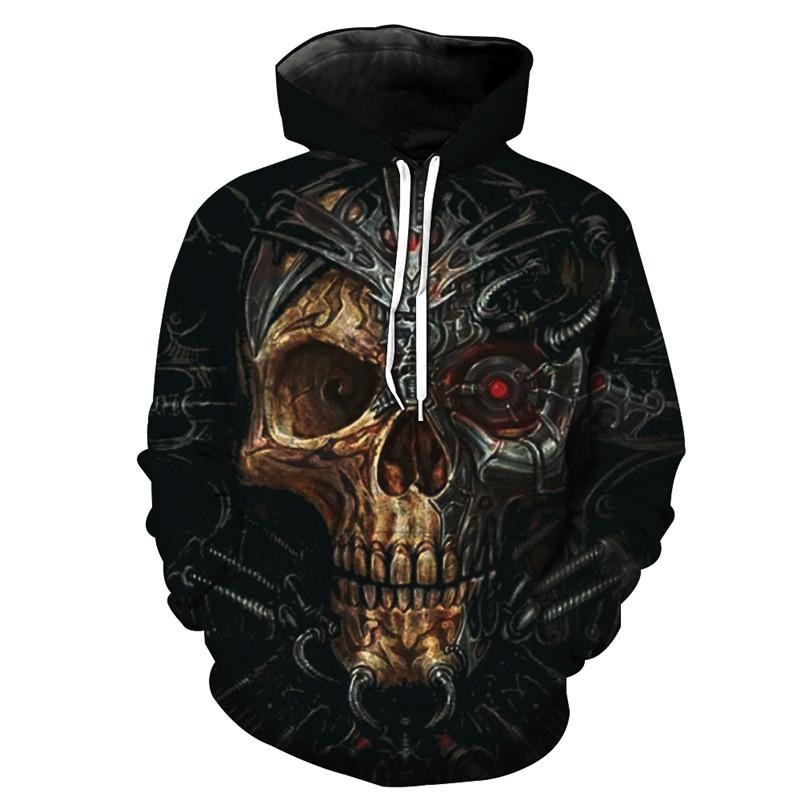 ConMotion черепа способа Hoodie красных глаз Механический Череп моды с капюшоном Толстовка Street пуловер РАЗМЕР США