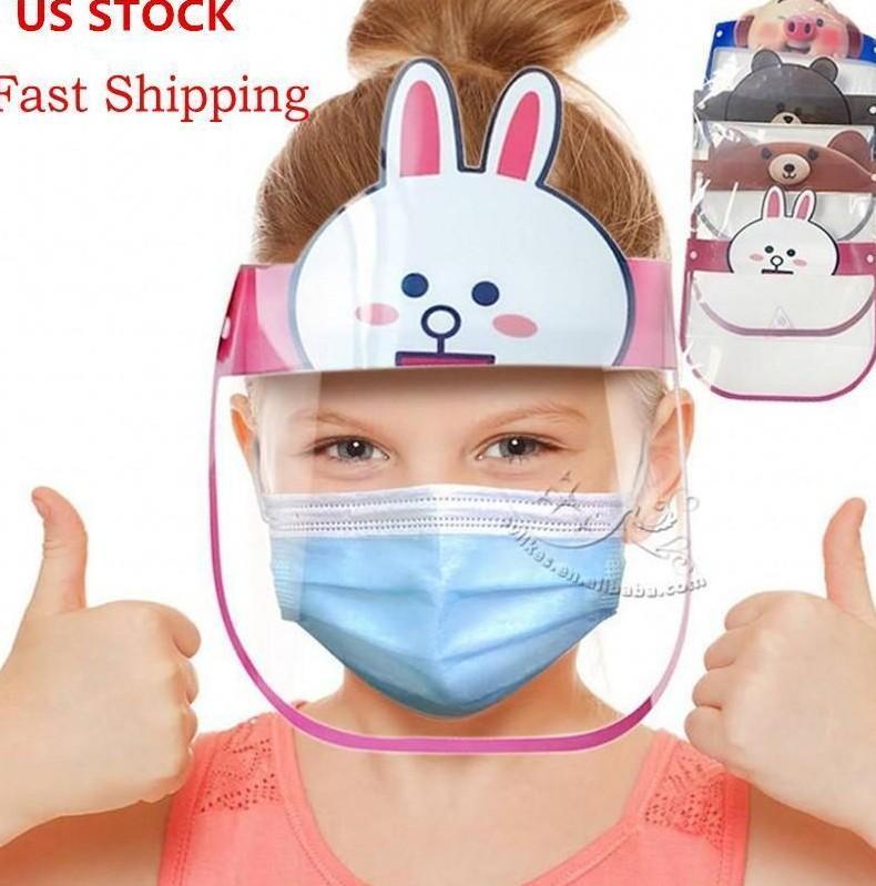 Anti-Fog Anti Toz Tam Yüz ShieldWindproof PET Maskesi FY8037 toz geçirmez 10 PC'ler Kid Karikatür Yüz Kalkanı Şeffaf Koruyucu Maskeler