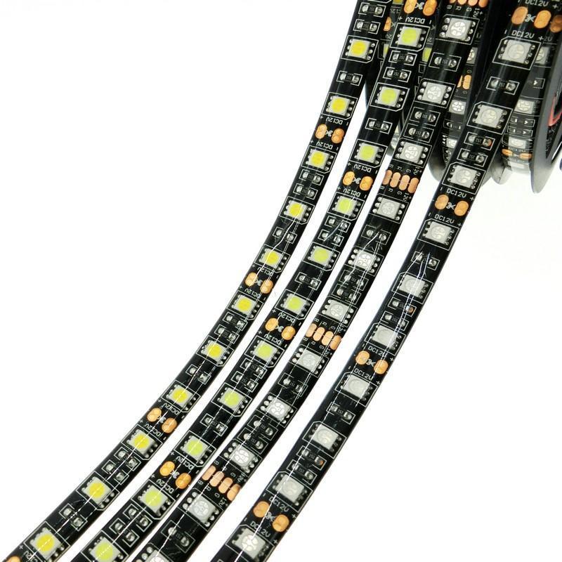 Mais barato preto LED PCB luzes de tira 5050 SMD branco quente Vermelho Verde Azul Rgb flexível 5m rolo 300 Ribbon Leds Waterproof / Não -Waterproof