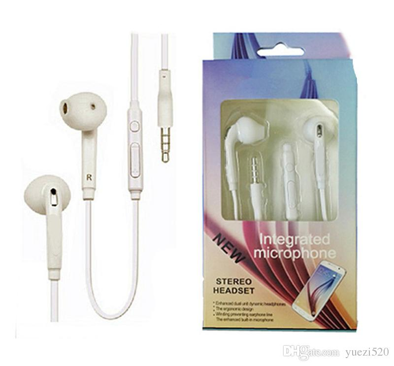 For Samsung Galaxy S6 Earphones Headphones Earbuds Headsets In Ear With Mic Volume Control 3.5mm With Retail Package For Samsung cell phones