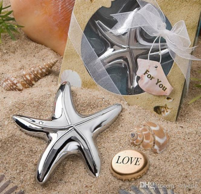 Vintage Starfish Bottle Opener Bridal Shower Wedding Favor Hawaiian Tropical Beach Ocean Theme Party Bag Filler Favors SN3512