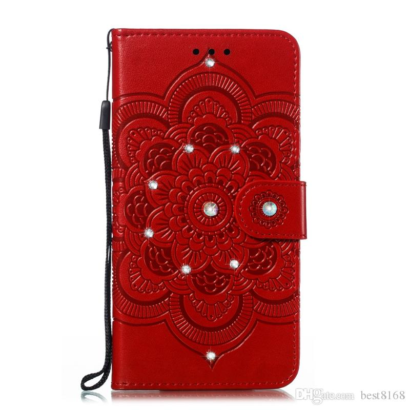 Bling Diamond Datura Imprint Wallet Leather Case For Iphone 11 PRO XR XS MAX 8 7 6 Galaxy S10 5G S10e Flower Mandala Card ID Lace Flip Cover