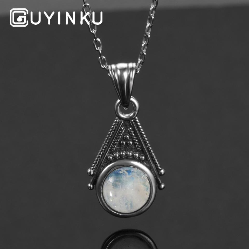 GUYINKU Charms 6mm Round Natural Moonstone 925 Sterling Silver Pendants Necklaces With 45cm Chain Wholesale Fine Jewelry Gifts