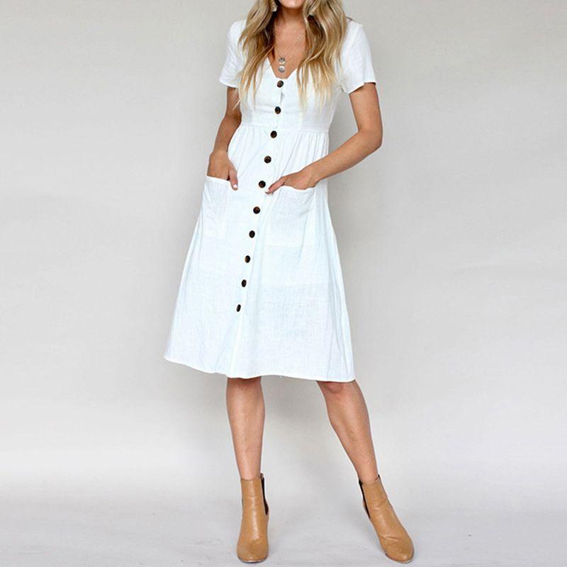 Женские платья Мода коротким рукавом V шеи линии платье с кнопкой Женщина вниз Качели с карманами Бич летом