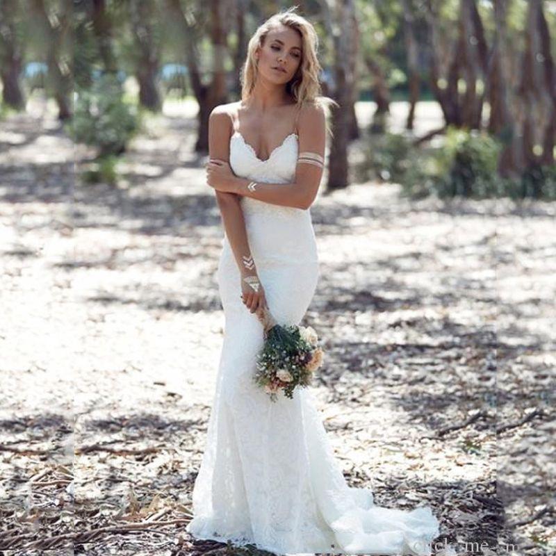 Cheap белое свадебное платье boho русалка сад свадебные платья длинные vestidos de noiva простые свадебное платье классическое платье