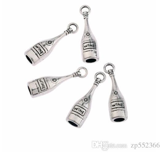 Tibetanische silberne Weinflasche 3D-Anhänger-Korn-Charme passend europäisches Armband Halskette Ohrringe Schmucksachen, das Handwerk Geschenk Zubehör 19x12mm