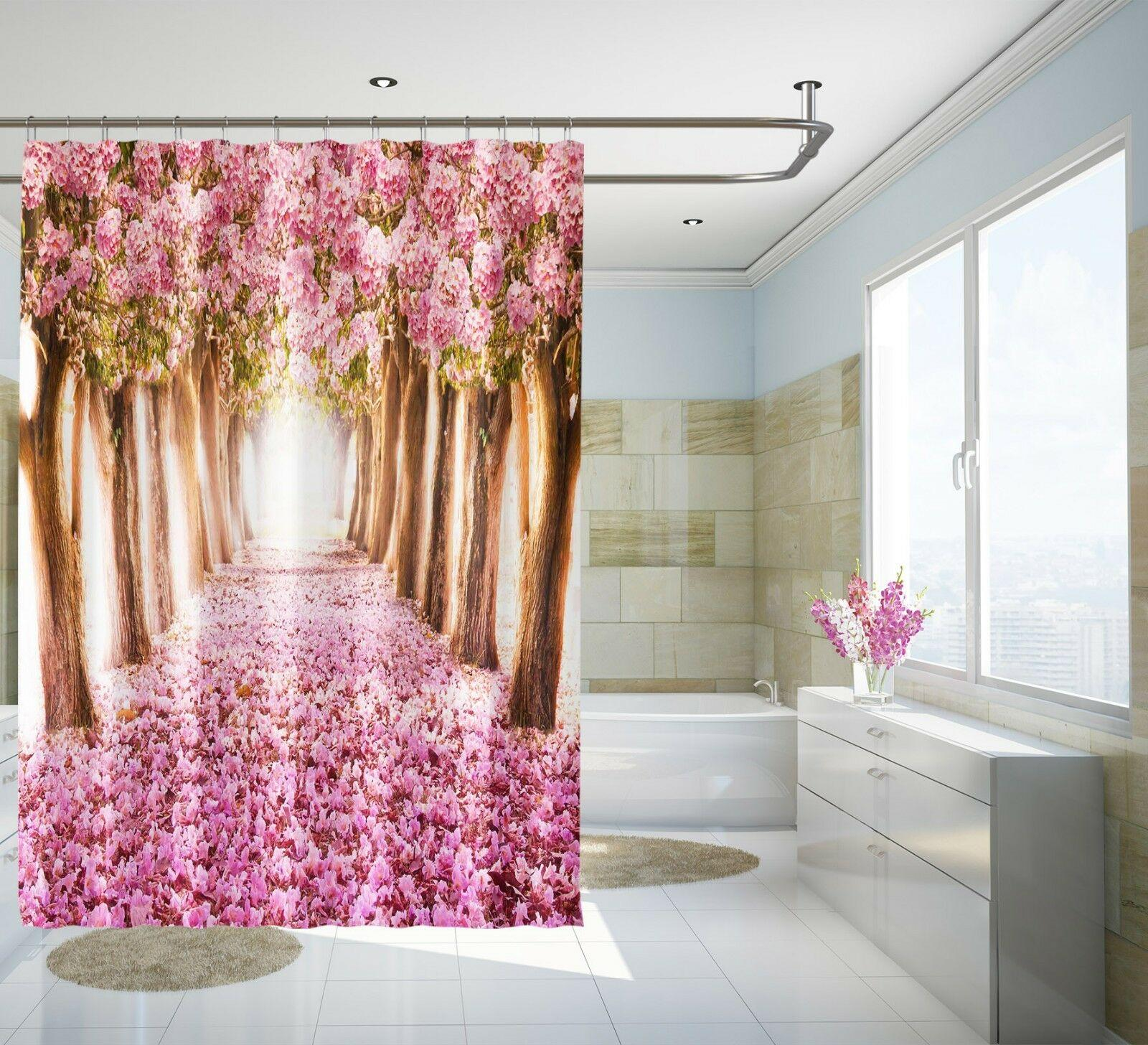 2019 3d Cherry Blossom 8 Shower Curtain Home Window Toilet Durable Fabric Mildew Bathroom Accessories Creative With 12 Hooks 180x180cm From