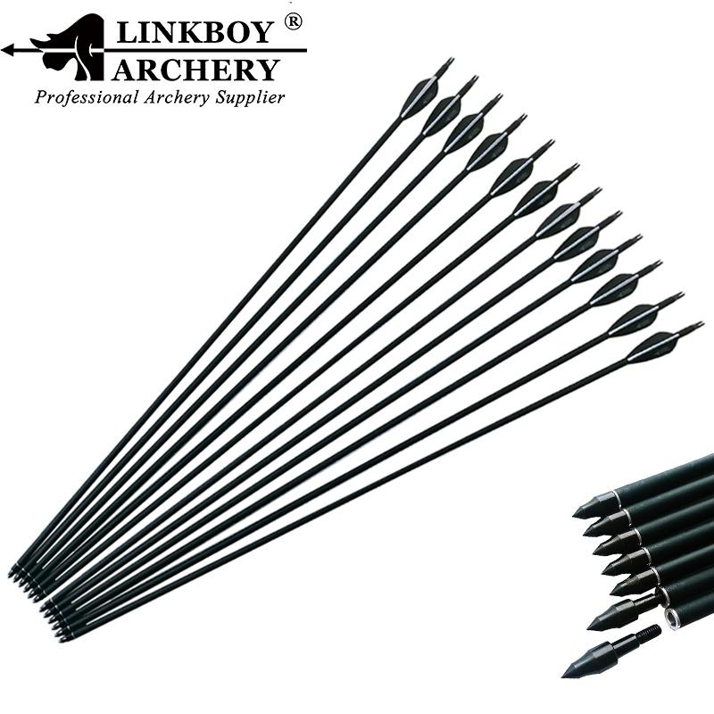 Linkboy Archery Carbon Arrow Shafts 30 Inch Spine 500 ID6.2mm 90 grain Point Compound Recurve Bow Longbow Hunting
