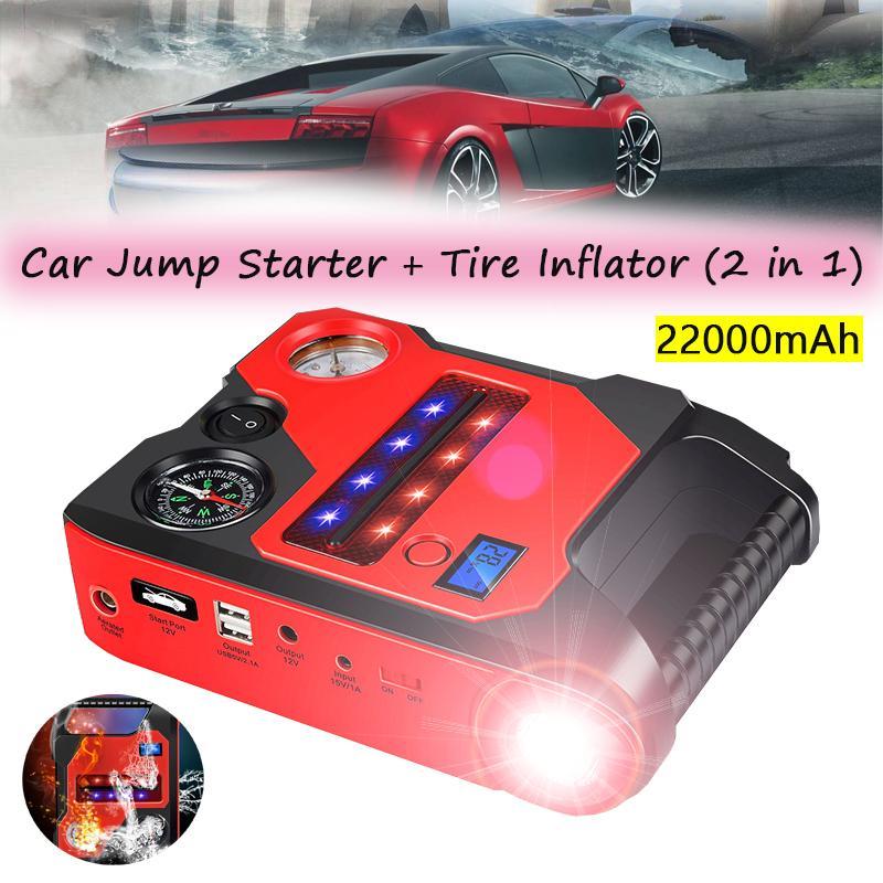 Bomba de aire del neumático del compresor de aire + del salto del coche arranque Banco de alimentación de 12V 22000mAh del coche universal del neumático del compresor + cargador de emergencia