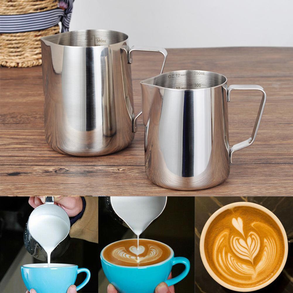 Faire mousser le lait Pitcher argent cadeau Anti Scald Latte cuisine en acier inoxydable Barista Art Tasse à café Bureau pratique avec échelle