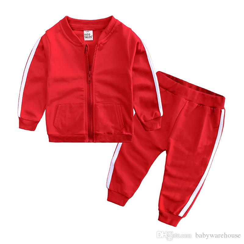 Autumn Fashion Baby Girl Clothes Cotton Long Sleeve Solid Zipper Jacket+Pants 2pcs Babys Tracksuit Baby Boy Clothing Set