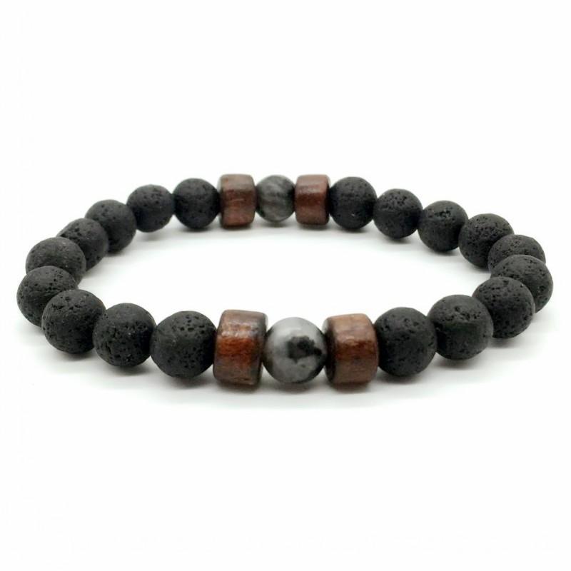 Charms Black Lava Volcanic stone Bracelet Natural Stone Yoga Bracelet 7 Chakra Healing Reiki Wood Beads Bracelet Hand Strings Jewelry M185R