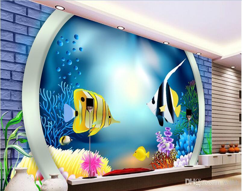 WDBH 3d chambre papier peint personnalisé photo océan monde poisson brique mur tv fond peinture décor à la maison 3d peintures murales papier peint pour murs 3 d