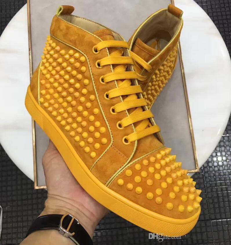 2020 High Quality Red Bottom For Women,Men Low Top + Wine-red Genuine Leather Spiked Junior Sneakers Shoes Luxury Designer Red Sole Walking