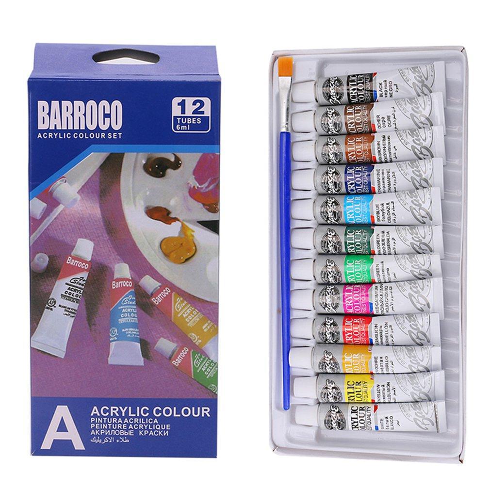 6 ML 12 couleurs professionnel Peintures acryliques peints à la main Set Peinture murale textile Peinture couleur Fournitures Art Brillamment Brush