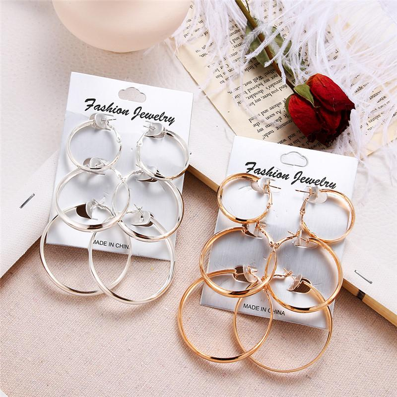 3 Pairs Gold Silver Color Big Circle Earrings Set For Women New Fashion Wide Statement Hoop Earrings Ladies Jewelry Wholesale